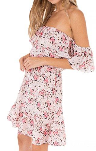 Print Blush The Off BD181390 Light Dress in Shoulder Ellison Floral Swan Black 4IqP66