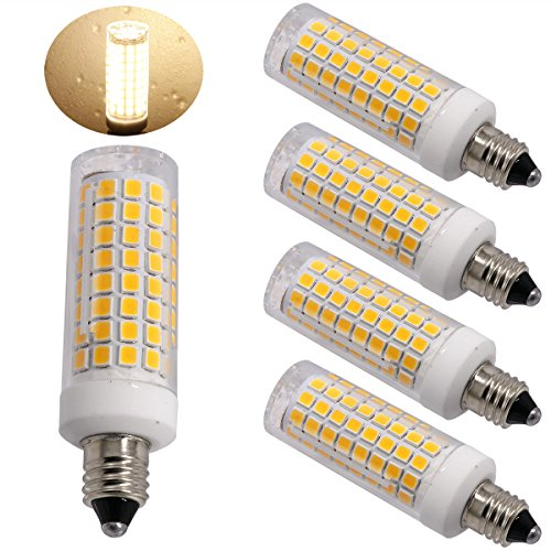 Ylaide E11 led light bulb 75W 10W halogen bulbs equivalent, 1100lm, e11 mini candelabra base 110V 120V 130V input 60W 75W 100W halogen bulbs replacement, warm white 3000K pack of 4 (Warm White 3000K) (Candelabra Base E11 Mini)