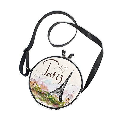 ALAZA Art Paris Eiffel Tower Painting Round Crossbody Bag Canvas Messenger Purse