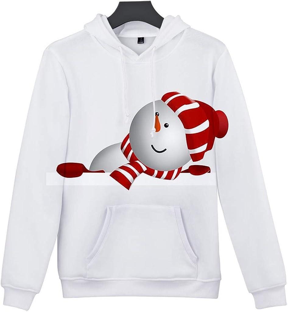 Christmas Sweatshirts for Men,Alalaso Christmas Women Men Print Long Sleeve Hoodie Sweatshirt Ugly Pullover Tops