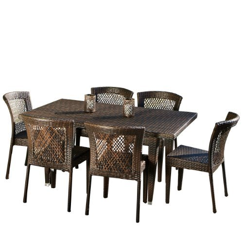 Christopher Knight Home 235374 Deal Furniture | Dana Point Brown 7 Piece Outdoor Wicker Dining Set (Dining Dana)