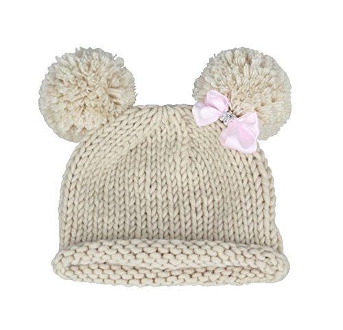 Bestknit Baby Girls Pompom Hat Props Crochet Knitted Pom Pom Hat Bow beanie Small Ivory