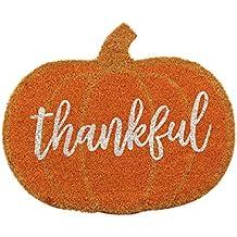 Mud Pie 4124005 Thankful Pumpkin Fall Front Doormat, Orange