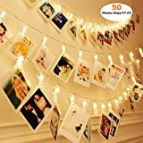 front porch decorating ideas MZD8391 [Upgraded] 50 Photo Clips String Lights/Holder, Indoor Fairy String Lights for Hanging Photos Pictures Christmas Cards, Photo Clip Holder for Bedroom Christmas Decoration
