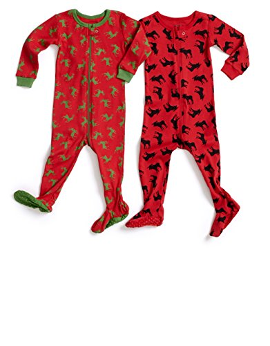 "Leveret ""Christmas"" Printed Footed Pajama Sleeper 100% Cotton (Size 6M-5 Years)"