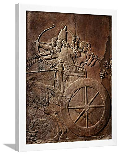 - ArtEdge King Ashurbanipal on His Chariot, Assyrian Reliefwork, from Palace At Nineveh, 650 BC White Framed Wall Art Print, 24x18 in