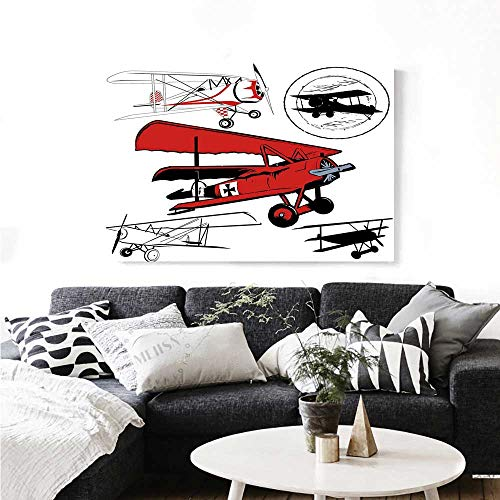 Vintage Airplane Decor Canvas Wall Art Collection of Various Biplanes Nostalgic Antique Silhouettes Print Paintings for Home Wall Office Decor 24
