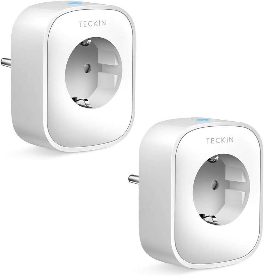 Enchufe Inteligente Wifi, Teckin Inalámbrico Smart Mini Monitor de Energía del Zócalo del Interruptor Compatible con Alexa Echo Google Asistente, no se requiere Hub, con Control Remoto (2 PACK)