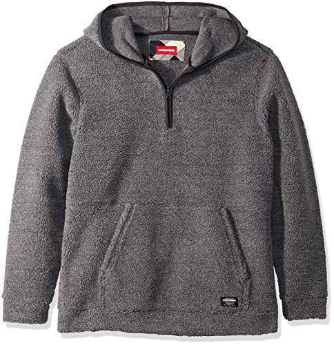 UNIONBAY Men's Quarter Zip Popover Teddy Bear Fleece Hoodie, Charcoal Heather, X-Large