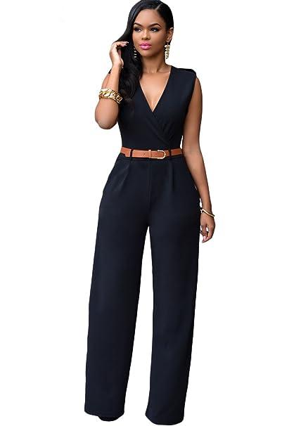 4542a68c1f7 New Woman`s Plus Size Black Wrap Front Sleeveless Wide Leg Jumpsuit Catsuit  Rompers Bodysuit Club wear Party Size XL UK 14 EU 42  Amazon.co.uk  DIY    Tools