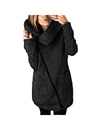DOKER Women's Fashion Wide lapel Oblique Zipper Coat Sweater