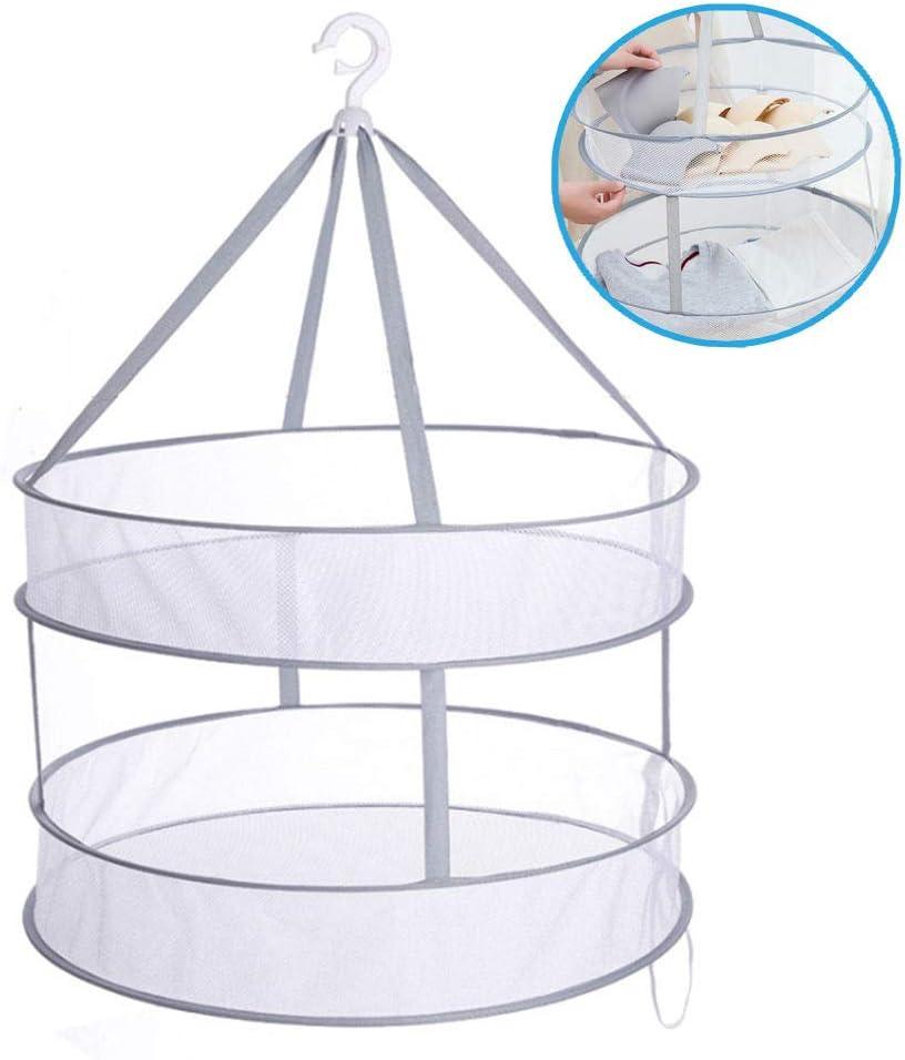 Ariskey Mesh Clothes Hanging Dryer, Double-Layer Foldable Sweater Drying Basket Racks Hanging Clothes Laundry Net Mesh Basket Dryer Net for Lingerie Underwears Woollen Sweater Garments Plush (Grey)