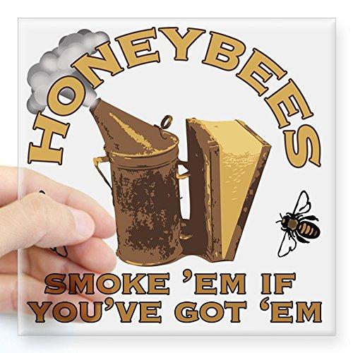 CafePress - Honeybees Smoke Em Square Sticker 3