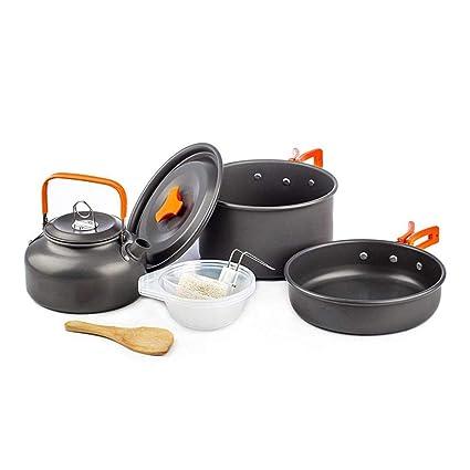 Kit de utensilios de cocina para acampar, antiadherente, ollas y sartenes de cocina apilables