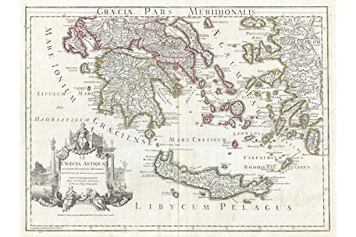 - Ancient Greece Map - Southern Ancient Greece and Crete - Depicts Greek Islands - Created by French Cartographer Guillaume Delisle in 1794 - Fine Giclee Printing - Made to Order - 16 x 24 inches