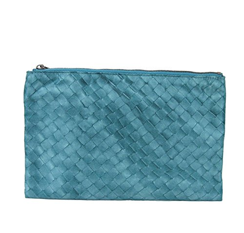Bottega Veneta Jade Blue Nylon Intrecciolusion Cosmetic Bag 301491 4403 by Bottega Veneta