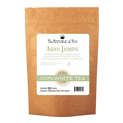 The Republic of Tea Asian Jasmine White Tea, 50 Tea Bags, Authentic 100% White Tea, Low Caffeine