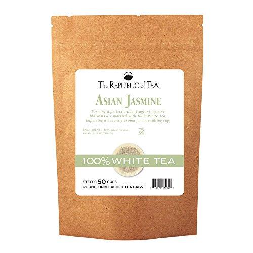 The Republic of Tea Asian Jasmine White Tea, 50 Tea Bags, Authentic 100% White Tea, Low Caffeine