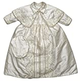 "Baby boy Christening Gown ""B008"" (Dedication - Baptism) Ropon Burbvus (0-4 Months, Ivory)"