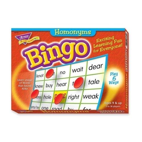 Trend Enterprises 6132Homonyms Bingoゲーム、3–36選手、36カード/マット/