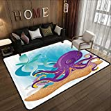 Contemporary Indoor Area Rugs,Marine,Cute Octopus on Seabed Underwater with Coral Reefs Aquarium Print,Sky Blue Purple Sand Brown 78.7''x 94'' Vintage Entrance Mat