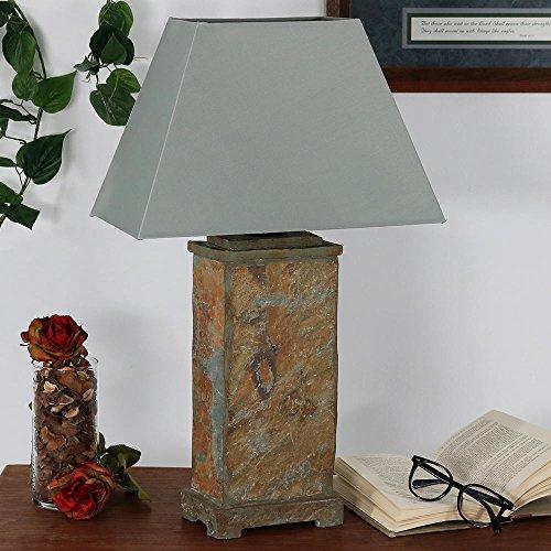 Sunnydaze Indoor/Outdoor Natural Slate Table Lamp, 24 Inch Tall (Modern Sunroom Ideas)