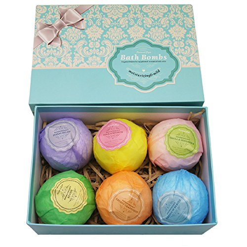 Bath Bombs Ultra Lush Gift Set By NATURAL SPA - 6 XXL All Natural Fizzies With Dead Sea Salt Cocoa And Shea Essential Oils - Best Gift Idea For Birthday, Mom, Girl, Him, Kids - Add To Bath Basket (Pleasures Bath Gift)