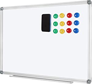 Welmors Office Magnetic White Board, Small Dry Erase Board 24'' x 32'', Aluminium Frame White Board with12x Magnets, 1x Eraser. (24x32 inch)