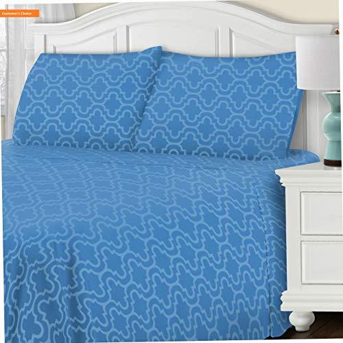 Mikash New Soft 100% Brushed Cotton Flannel Trellis Bedding Sheet Set, Twin, Light Blue | Style 84600841