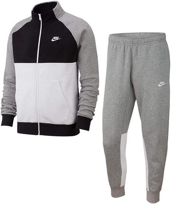 Nike CE - Chándal deportivo para hombre, de forro polar gris/blanco S: Amazon.es: Ropa y accesorios