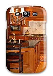 Hot OFACAcO7574fqFlz Case Cover Protector For Galaxy S3- Kitchen Island With Black Sink And Countertop Twin Chandeliers And Brass Faucet