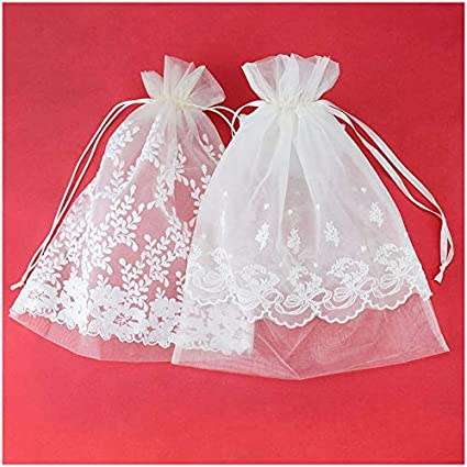 340e0d3a1ab1 VU100 Organza Lace Bags with Double Drawstring,Elegant Floral Jewelry  Pouches Gift Wrap Favors Bags, for Wedding Party (10