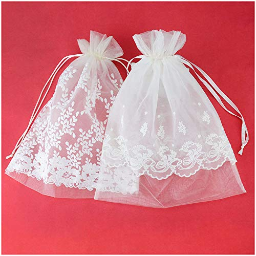 VU100 Organza Lace Bags with Double Drawstring,Elegant Flora