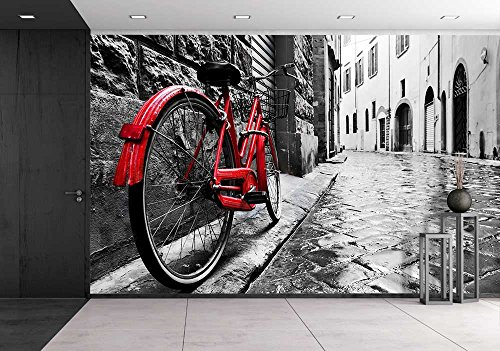 Retro Vintage Red Bike on Cobblestone Street in the Old Town Color in Black and White Old Charming Bicycle Concept