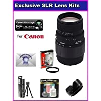 Sigma 70-300mm f/4-5.6 DG Macro Telephoto Zoom Lens For Canon EOS 60D, 60Da, 50D, 7D, 5D, T5i, T4i, T3i, T3, T2i and SL1 With Essentials USM Accessory Package Kit Includes High Resolution HD protective UV Filter, Flower Lens Hood + 6 Year Extended Lens Warranty + More At A Glance Review Image