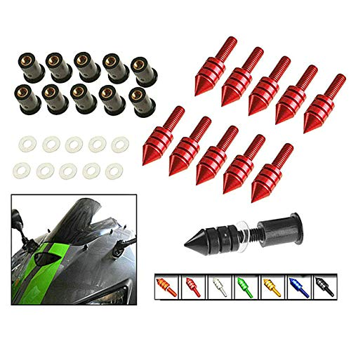 Yibid 5mm 10pcs Red Universal Motorcycle Spike Bolts Screws Windscreen Windshield M5 Screw Fairing License Plate Mounting Kit Nuts for Suzuki Boulevard M109R C109R C50 C90 S40 Ducati BMW Sports Bikes ()