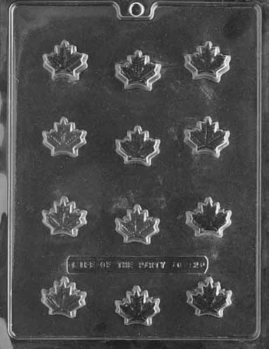 Cybrtrayd Life of the Party AO121 Maple Leaf Chocolate Candy Mold in Sealed Protective Poly Bag Imprinted with Copyrighted Cybrtrayd Molding Instructions