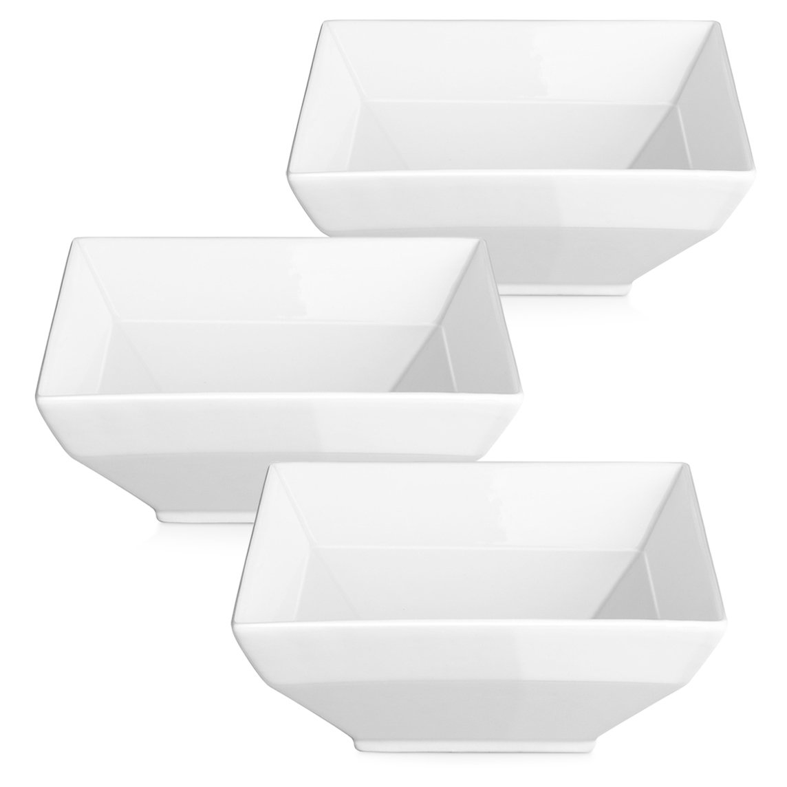 DOWAN Porcelain Soup/Cereal Bowls, White Square Bowl Set, 24-Ounce, Set of 3