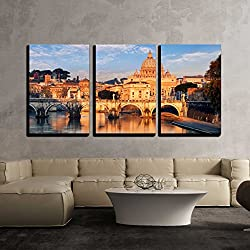 "wall26 - 3 Piece Canvas Wall Art - Vatican City, Rome - Modern Home Decor Stretched and Framed Ready to Hang - 24""x36""x3 Panels"