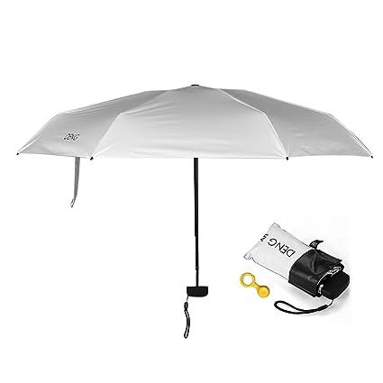 Decdeal Paraguas Plegables Portátil,UPF 50+ Paraguas Protección UV con Recubrimiento UVA Negro