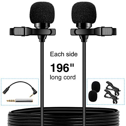 Recorder Great Bass (PoP voice Premium 16 Feet Dual-head Lavalier Microphone, Professional Lapel Clip-on Omnidirectional Condenser Mic for Apple iPhone,Android,PC,Recording Youtube,Interview,Video Conference,Podcast)
