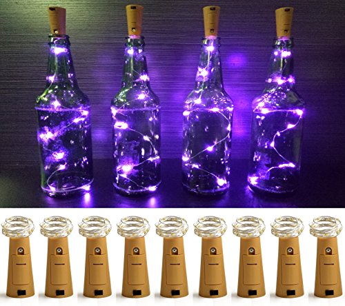 LXS Pack of 9 Cork Shape Wine Bottle Lights, Silver Wire Battery Operated Starry Rope Fairy Lights For Bottle DIY, Christmas Halloween Wedding Party Indoor Outdoor (Halloween Ideas)