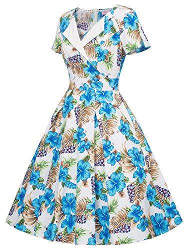 Short Party with Floral Belle Sleeve Vintage Pockets 1950s 02 Poque Women's Dress Floral Annq1RBS