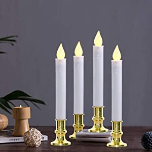 Goothy Christmas Window Candles Lights, Automatic Timer LED Flickering Candles Lights with Gold Base (8/16 Hour Timer), 9'' LED Battery Operated Candles for Indoor Table Party Decor- Set of 4
