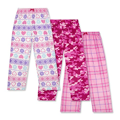 Sleepwear Pj Fleece Girls (Mad Dog Girls 3 Pack Fleece Sleep Pant, Size XL (14/16))