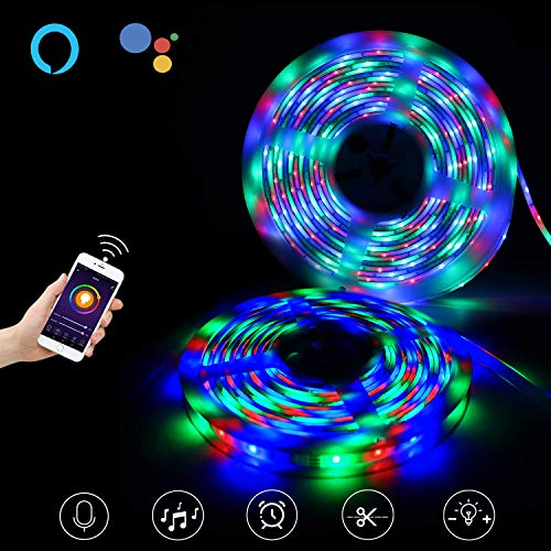Smart WiFi LED Strip Lights Works with Alexa, Google Home, Music Light Strip for Home, Kitchen, TV, Party, for iOS and Android, 32.8ft