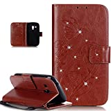 Galaxy S3 Mini Case,ikasus Bing Glitter Diamond Embossing Flower Butterfly Flip PU Leather Wallet Bookstyle Magnetic Closure Card Slots Stand Case Cover for Samsung Galaxy S3 Mini i8190,Brown