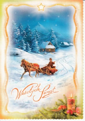 used postcard polish language merry christmas and happy new year horse driven sleigh ride in - How To Say Merry Christmas In Polish