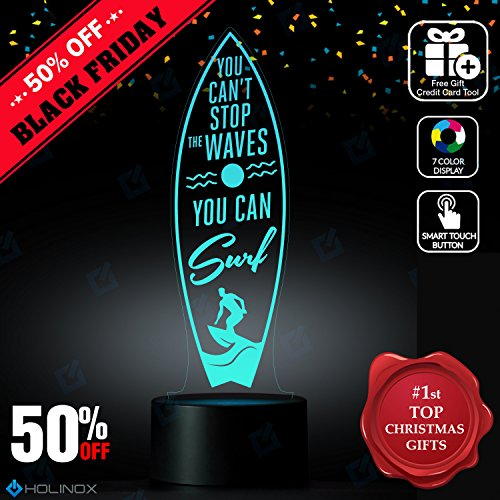 You Can't Stop The Waves You Can Surf, Surfing dŽcor, Best Christmas Gift, Decoration lamp, 7 Color Mode, Awesome gifts (Diy Stop Light Costume)
