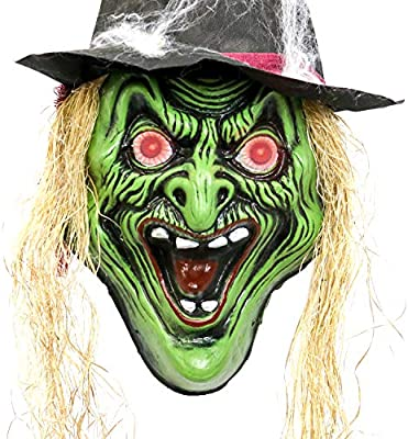Halloween Cartoon Witch Face.Halloween Haunters Hanging Over Sized 20 Scary Wicked Witch Face With Hat And Flashing Red Led Eyes Prop Decoration Huge Spooky Screaming Green